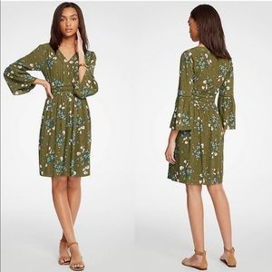 Ann Taylor |Floral green dress with flare sleeves
